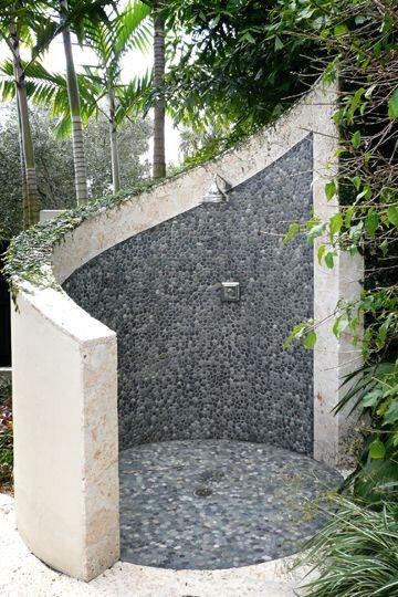 Outdoor Shower With Walk Around Entry Second Dream