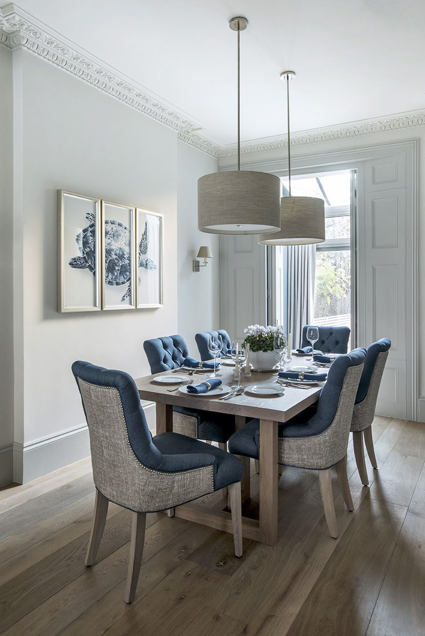 London Townhouse Dining Room Sims Hilditch Interior Design Luxury Dining Room Blue Dining Chair Country Dining Rooms