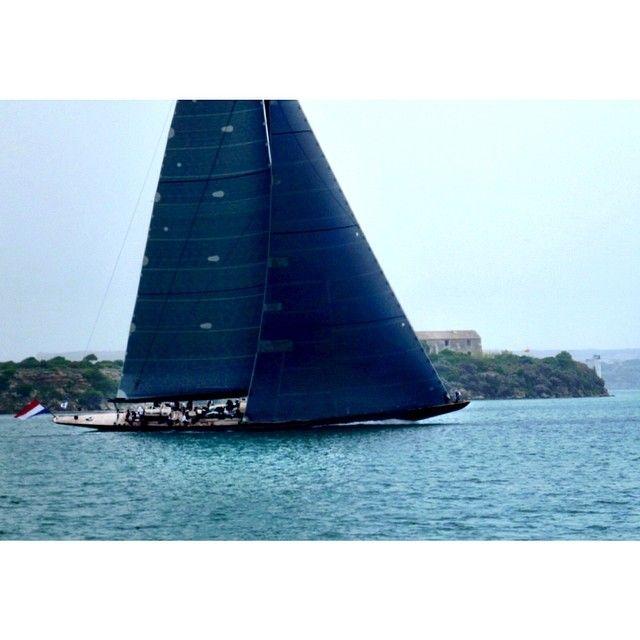 #Lionheart sailing through the harbor at the #MenorcaMaxi regatta this morning. #NorthSails #3Di #superyacht #Padgram