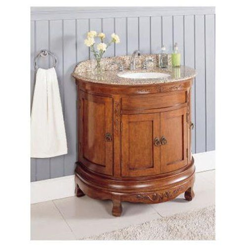"lanza wf6745 36"" half moon antique bathroom vanity granite top"