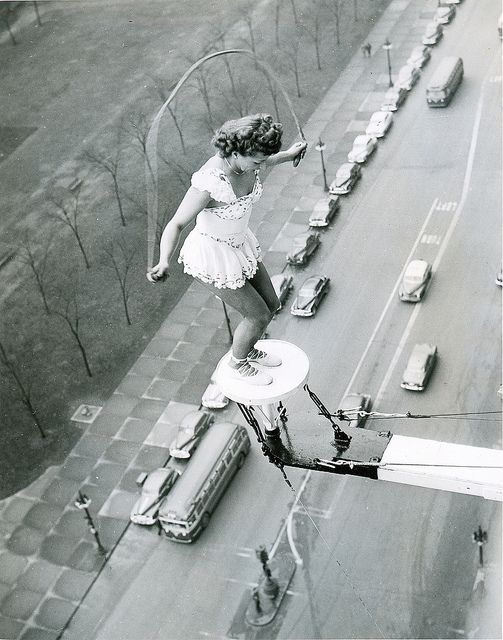 1949 Supremely rare...Betty fox jumping rope ...Daredevil over Chicago streets