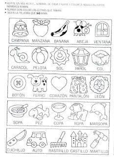 ejercicios de palabras que riman para primer grado