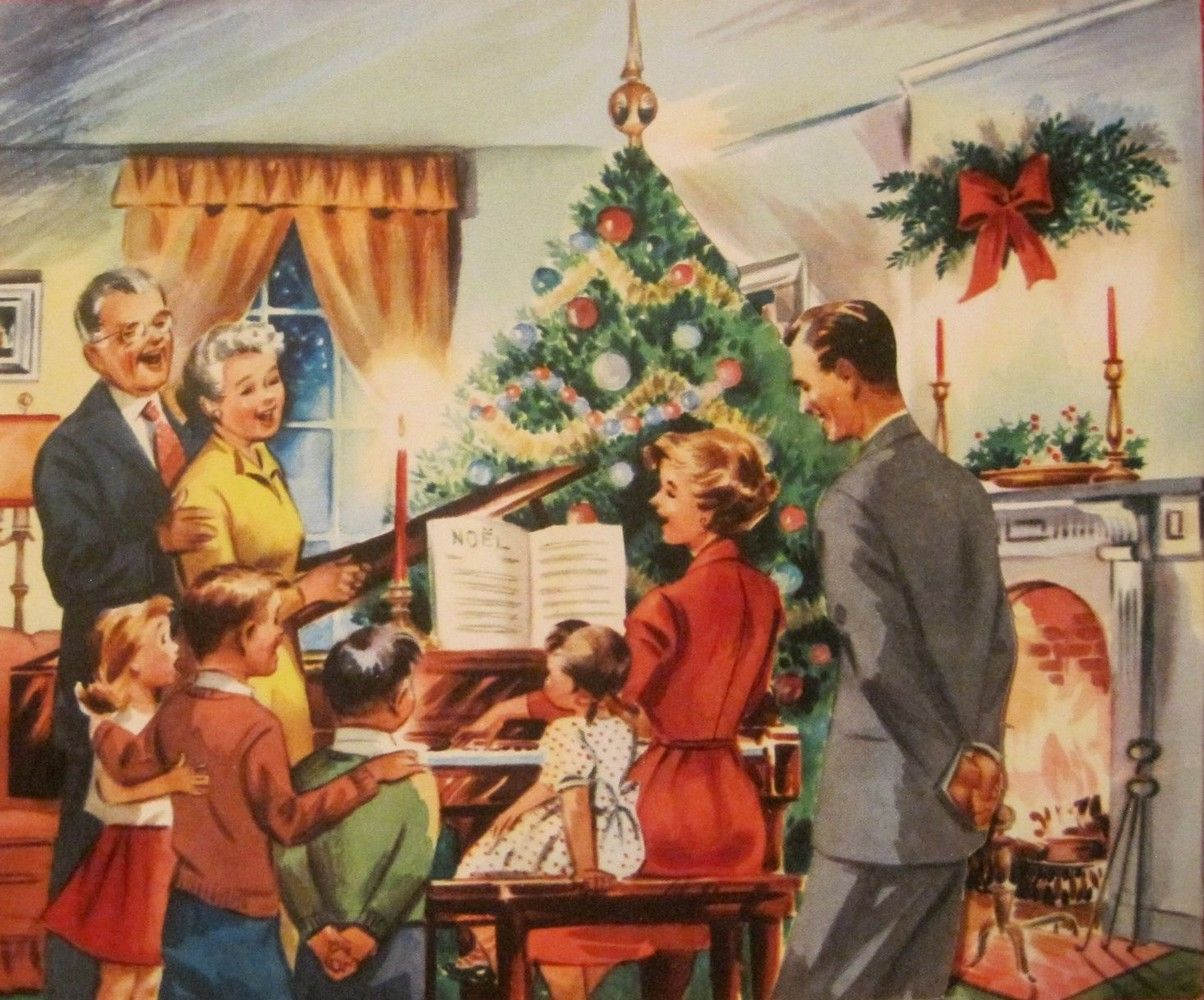 Old Christmas Post Cards — Vintage Family Scene, 1953 (1204x1000) | Vintage christmas cards, Christmas art, Vintage christmas