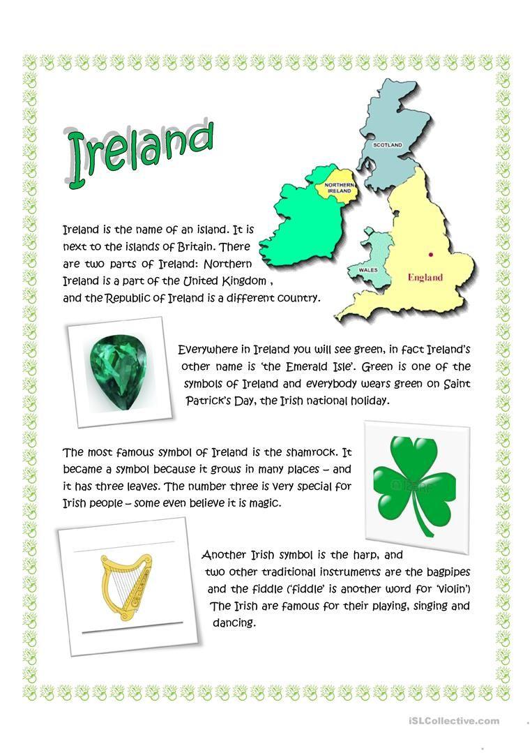 Ireland worksheet Free ESL printable worksheets made by
