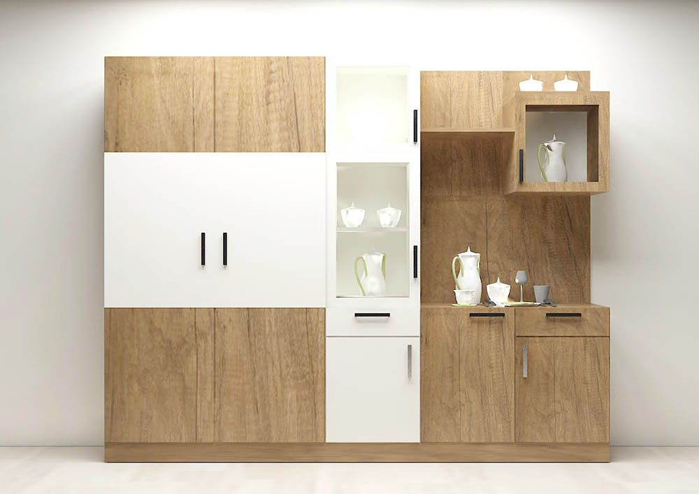 Moray crockery unit with laminate finish wood colors for Design kitchen cabinets online