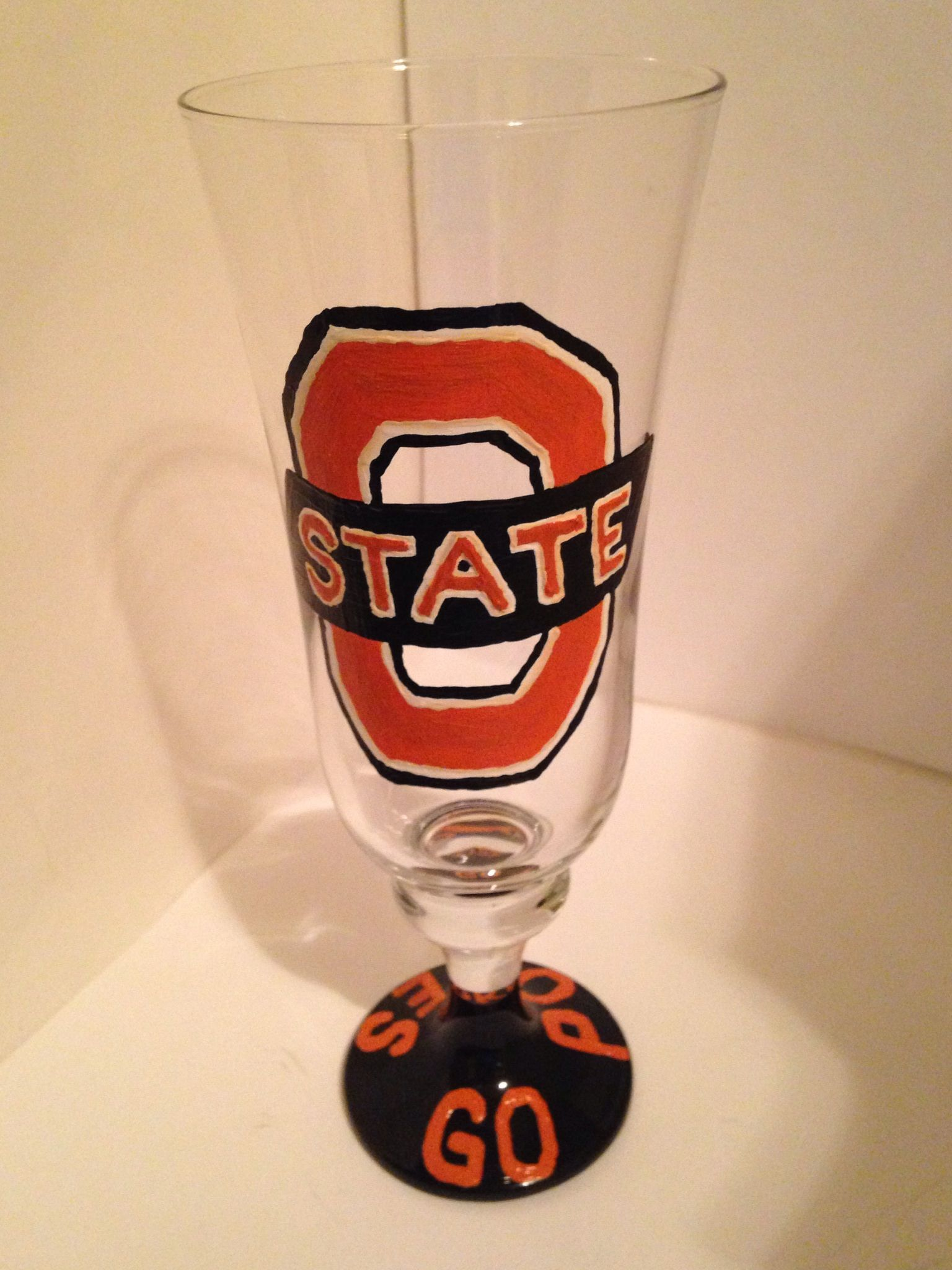 Oklahoma State University Customized Hand Painted Wine Glass Made By Schoolspiritbling Com Order Yo Hand Painted Wine Glass Painted Wine Glass Pilsner Glass