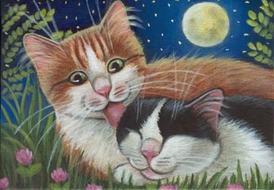 Cute hand painted acrylic cat painting (canvas panel 7 inch x 5 inch); $18.99