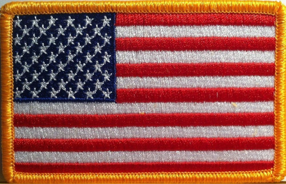 Details About American Flag Embroidered Patch Iron On Gold Border Usa Us United States American Flag Patch Flag Patches Embroidered Patches