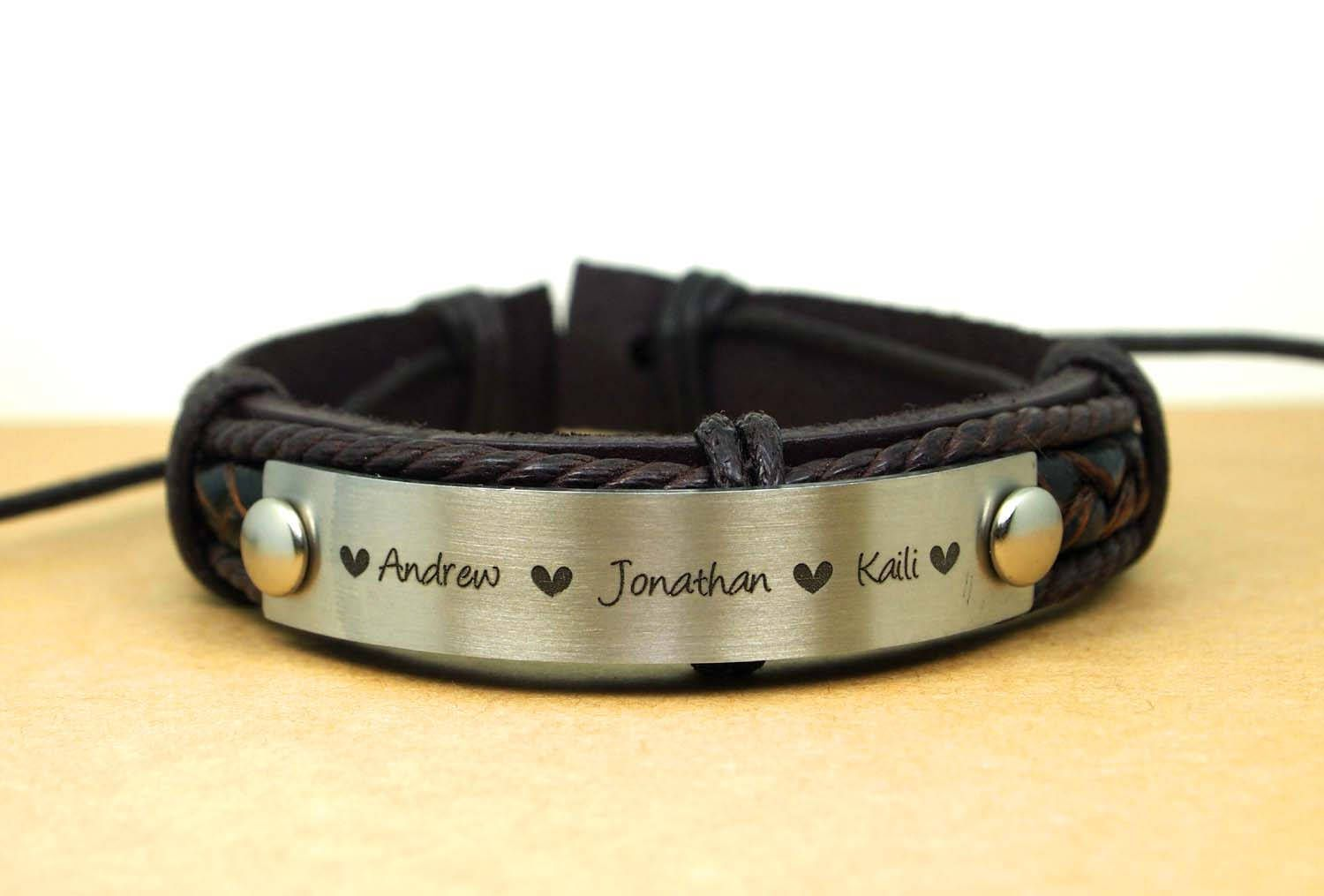 Engraved Leather Bracelets Personalize Name Custom Men Bracelet Uni Gift Ideas