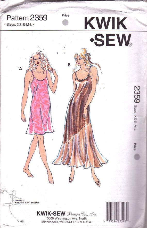 Kwik Sew 2359 Misses Bias Cut NIGHTGOWN Slip Dress Pattern Circle ...