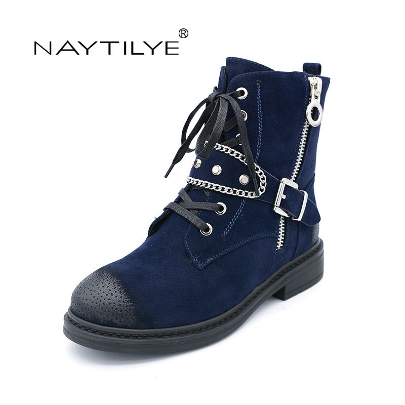 NATILYE PU Eco Leather Shoes Woman Ankle Warm Winter Boots Women Motorcycle  Zip Round Toe Nature Wool Black Blue Red Size 36-40 1cc54bff688a