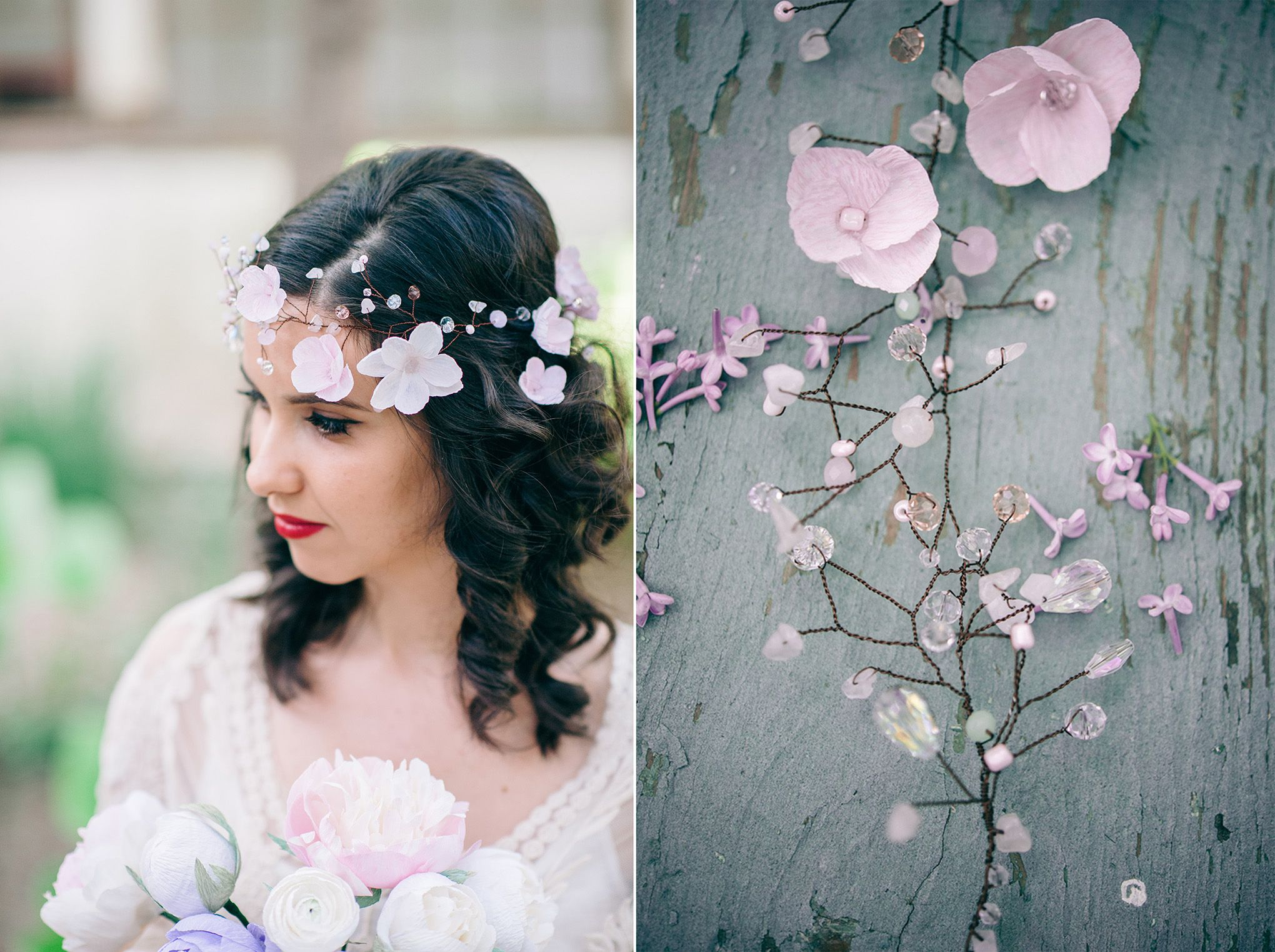 Handmade bridal headpiece lovely wedding hair adornment by