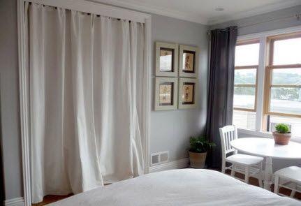Curtain Closet Doors Swap The Closet Door For Curtains Hmmm