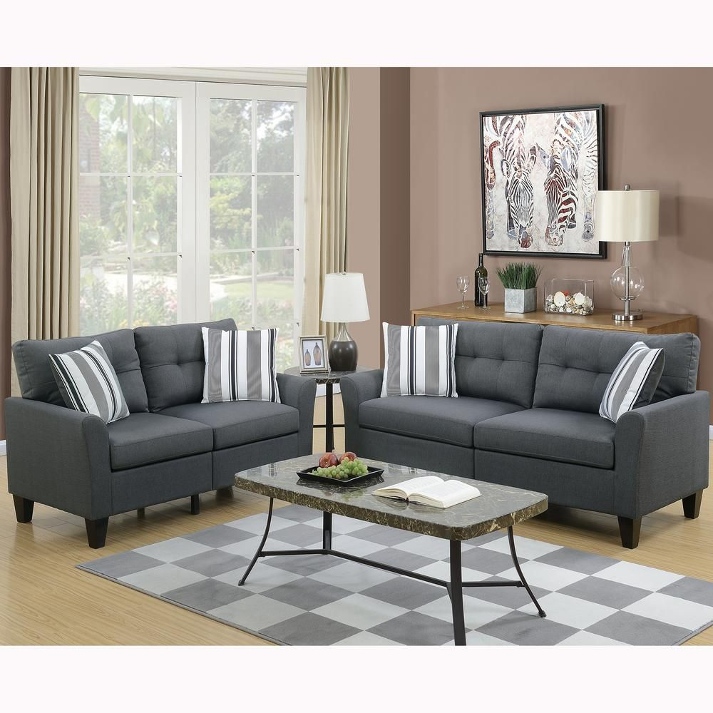 Best Venetian Worldwide Sardinia 2 Piece Charcoal Sofa Set 400 x 300