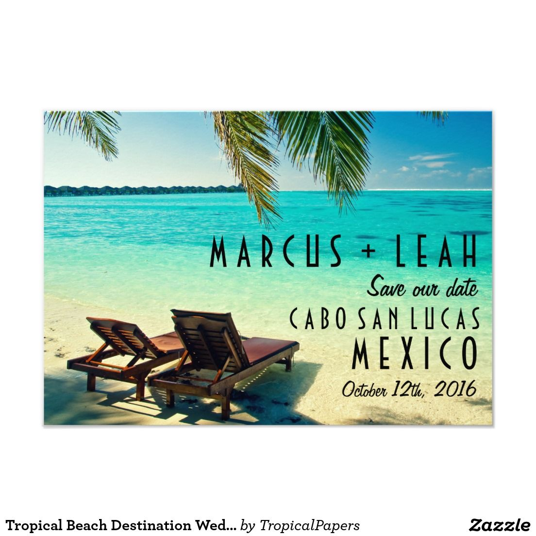 Tropical Beach Destination Wedding Save the Date