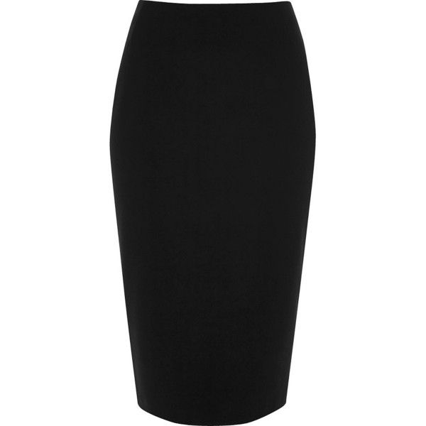 16fc7e2f18 River Island Black jersey midi pencil skirt ($44) ❤ liked on Polyvore  featuring skirts