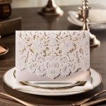 graceful pearl white laser cut pocket envelope wedding invitation EWWS011