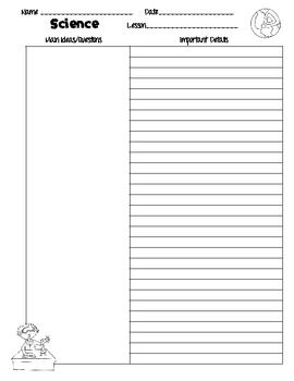 Cornell Notes Template And Writing Paper For Science  Freebie