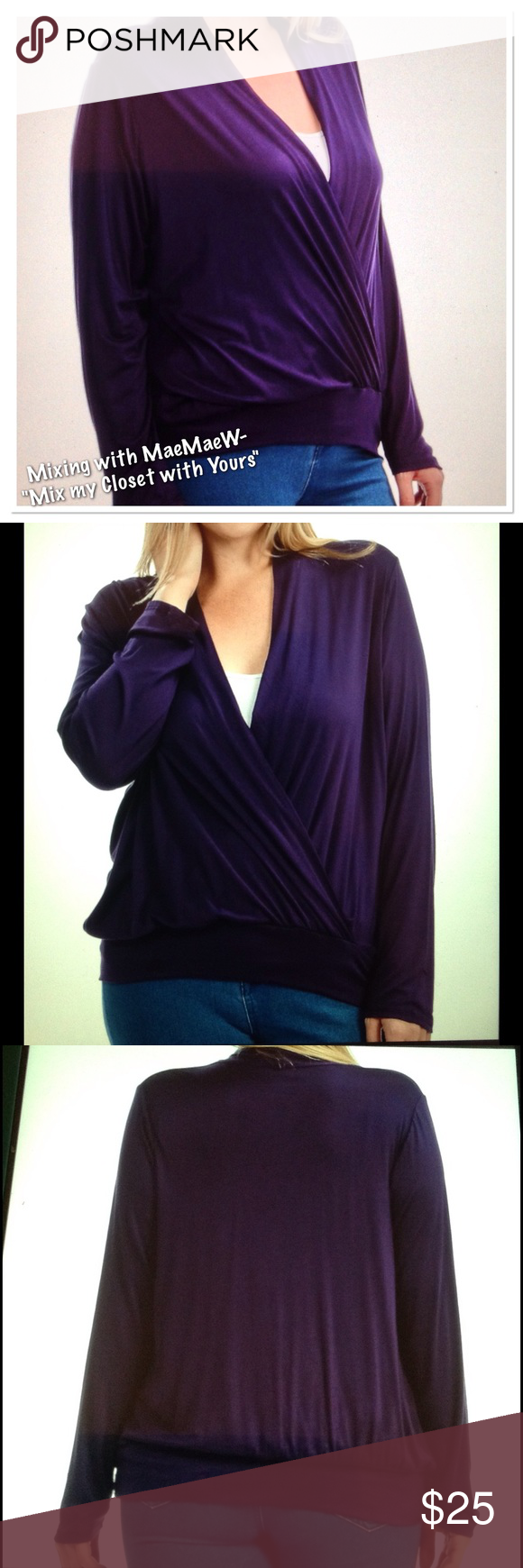 """🆕 """"Plus-Crossover Long Sleeve Top""""-Plum  🎉SALE🎉 My go to style to camouflage my tummy! Flattering style and color (purple). Made in USA🇺🇸.                Materials: 97% Rayon, 3% Spandex Bellino Clothing Tops Tees - Long Sleeve"""