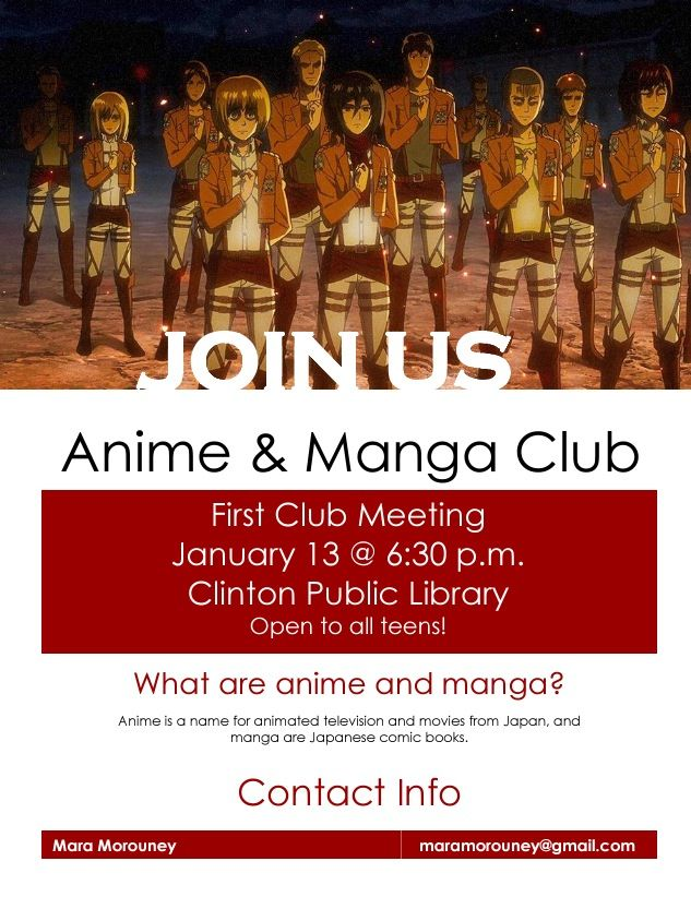 Manga And Anime Club Flyer  Anime And Manga Club