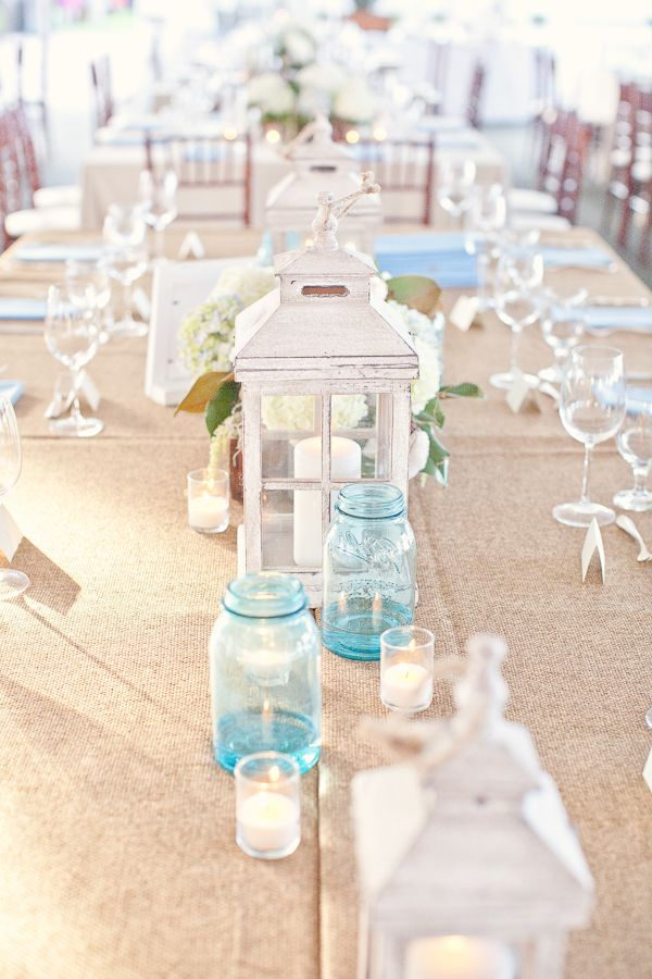 Pin by candice bolt on deco pinterest simple wedding table love this white lanterncandle could have burlap wouldnt mind if not white but iron or color if neat wedding centerpieces beach theme ideas with junglespirit Images
