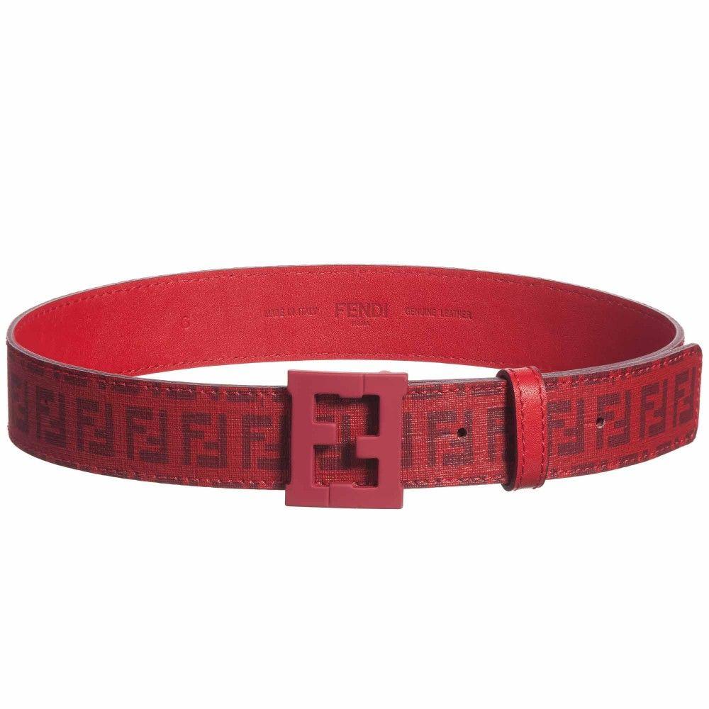 Red Ff Logo Belt Belt Red Belt Fendi