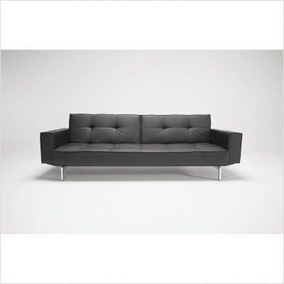 Oz Deluxe Leather Convertible Sofa Color: Black Leather Textile by ...