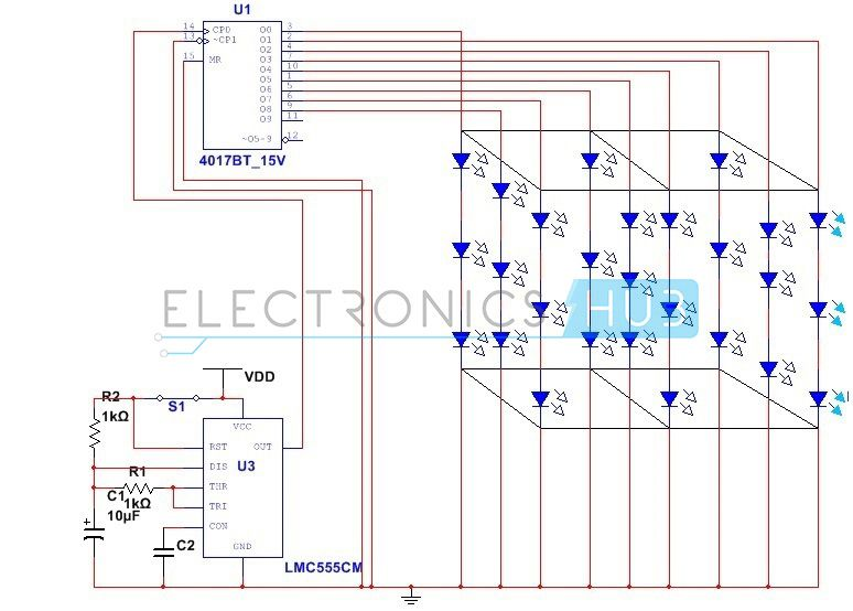 3x3x3 led cube circuit without using microcontroller rh pinterest com led cube wiring diagram 3x3x3 led cube circuit diagram