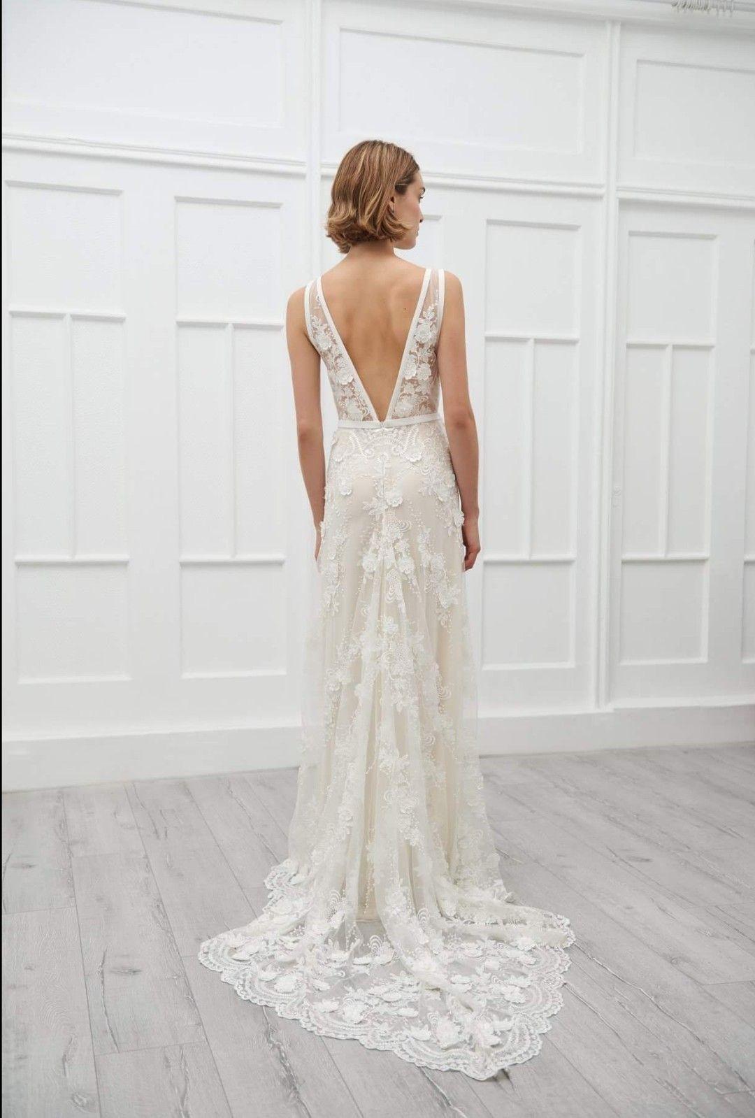 Lace wedding dress low back  Savannah D Wedding gown  VIKTORIACHAN BRIDAL Modern bride Bridal