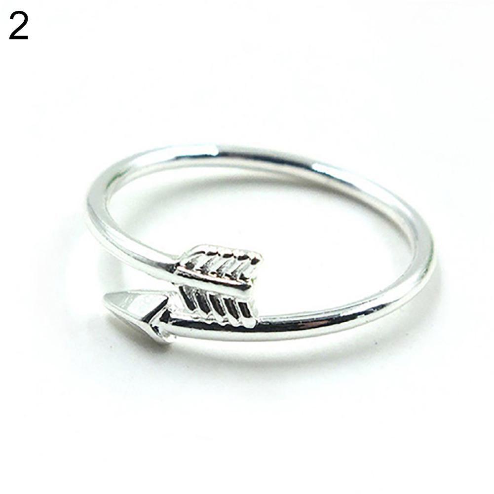 Photo of Women Fashion Golden Silver Tone Adjustable Arrow Open Knuckle Ring Jewelry – Silver