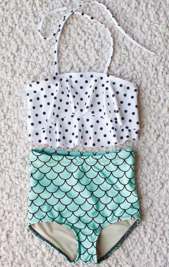 592da859c White black polka dot tee top w  green scale shorts bathing suit ...