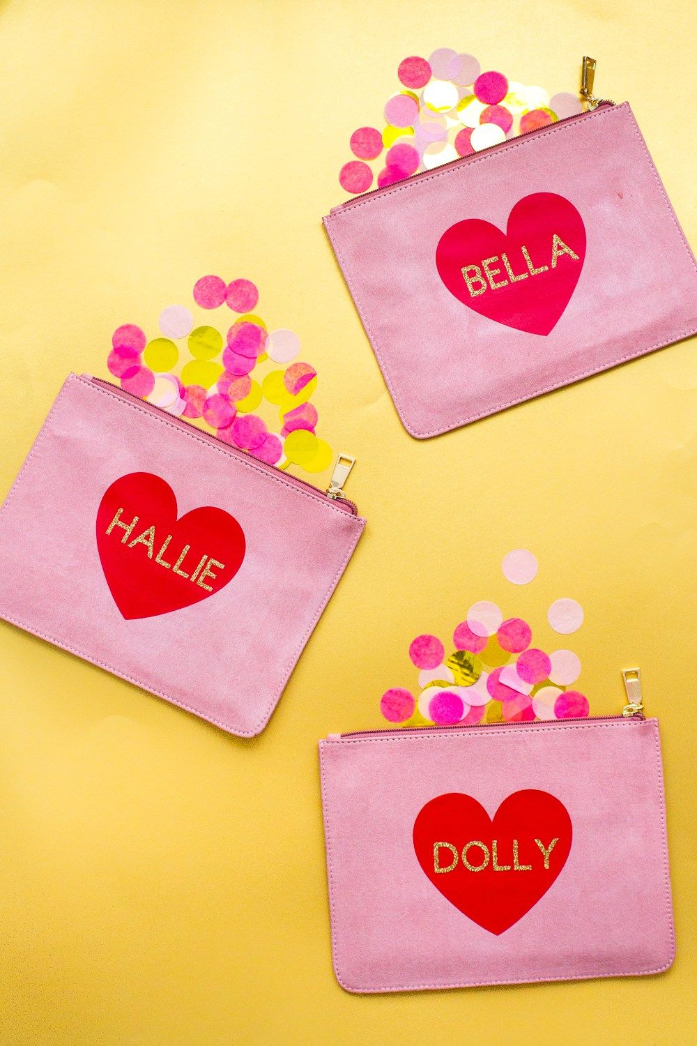 DIY CUTE NAME HEART CLUTCH\'S FOR YOUR BRIDESMAIDS | Wedding blog