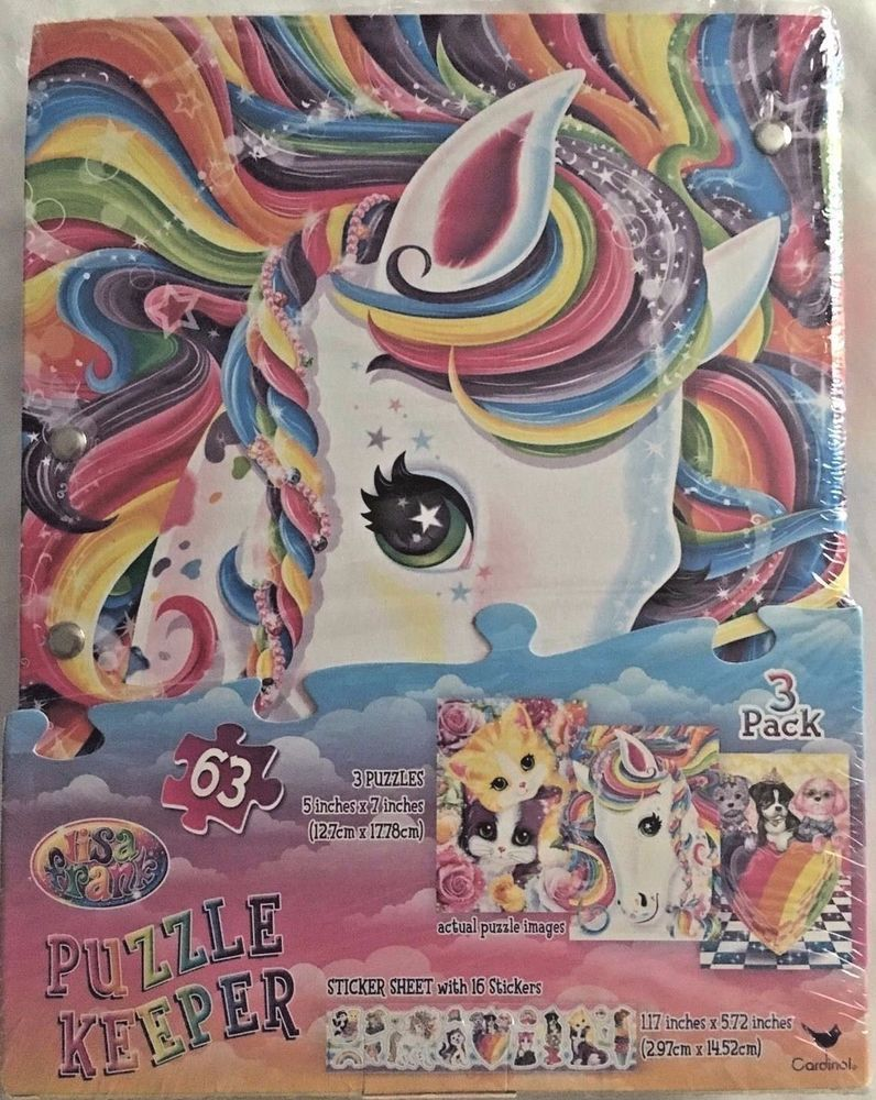 "Puzzle Keeper. Lisa Frank. Also includes bonus sticker sheet with 16 stickers. 3 5"" X 7"" puzzles. 