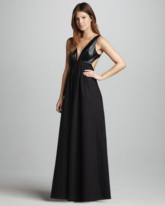 Faux-Leather-Top Maxi Dress by Blaque Label at Neiman Marcus ...