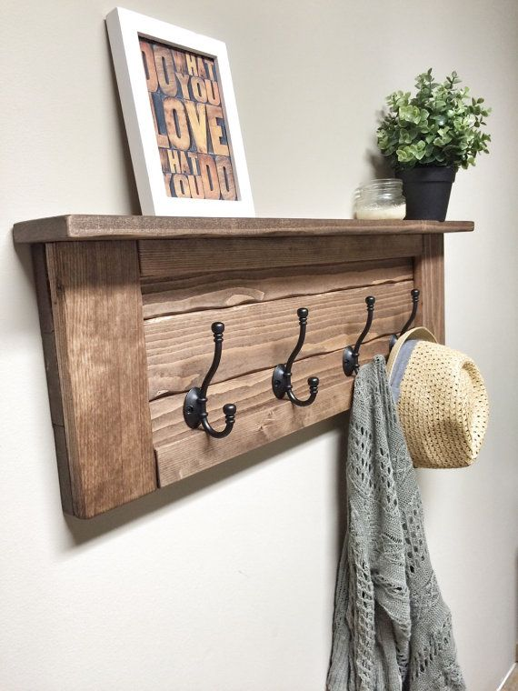 Wooden Entryway Coat Rack With Hooks Rustic Wooden Shelf