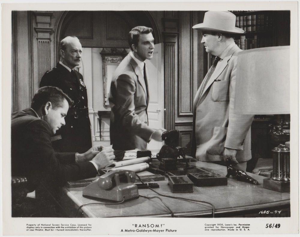 Leslie Nielsen + Glenn Ford 1956 Vintage 8x10 STILL PHOTO Ransom 1685-94