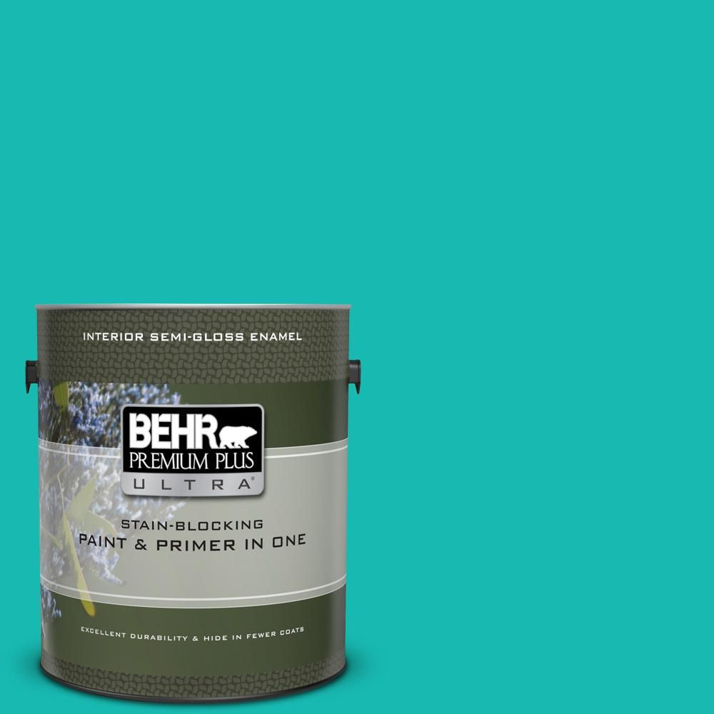 Behr Premium Plus Ultra 1 Gal P450 5 Island Aqua Semi Gloss Enamel Interior Paint And Primer In One Exterior Paint Interior Paint Behr