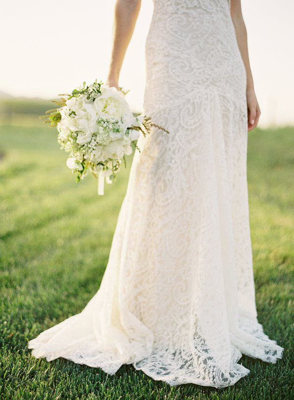 Lace Simple Wedding Dress Fit And Flare Ivory Lace Gown