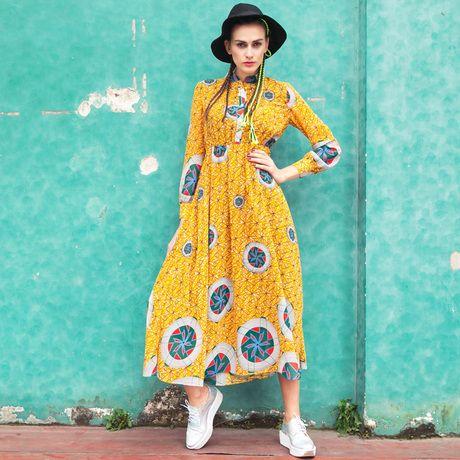 Sweet orange trip spring 2014 new women's fashion Europe and America printed chiffon dress long sleeve full dress $49.99