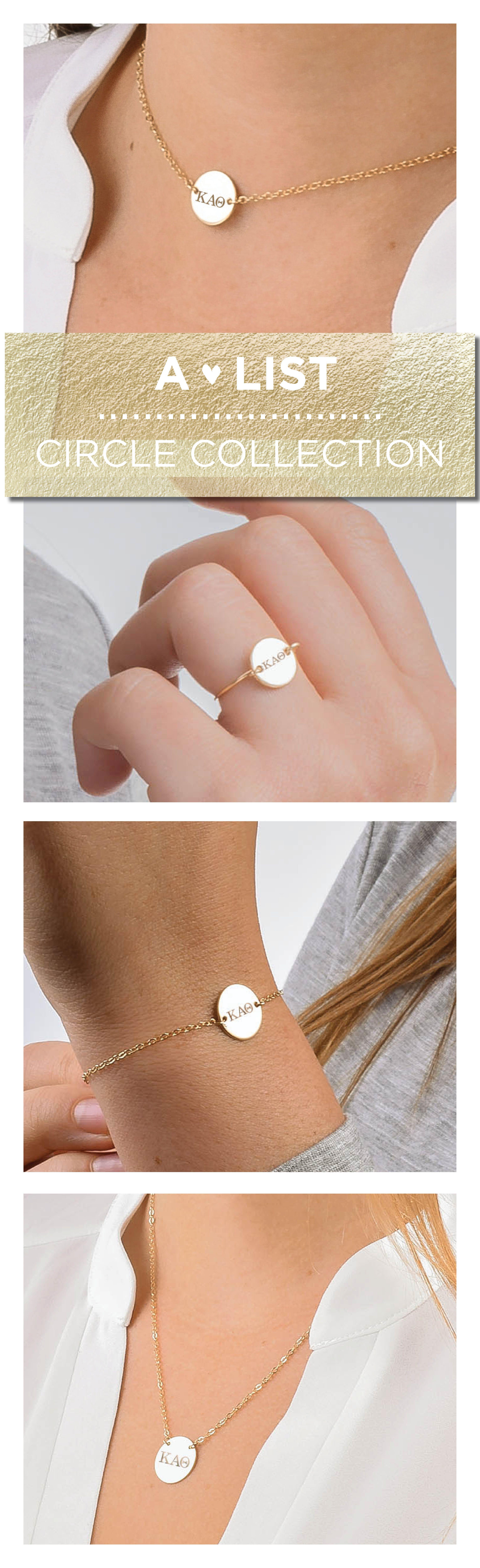 This Dainty Kappa Alpha Theta Circle Collection From Www Alistgreek Com Is A Simple And Moder Sorority Jewelry Alpha Omicron Pi Jewelry Alpha Sigma Tau Jewelry