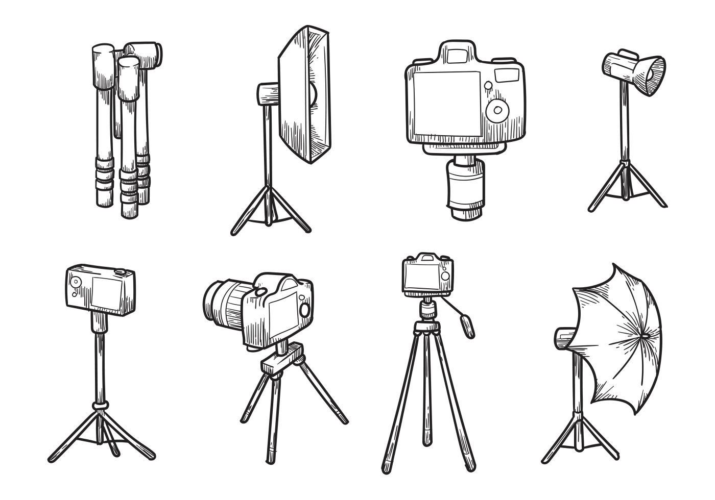 Free Hand Drawn Camera Tripod Vectors Camera drawing
