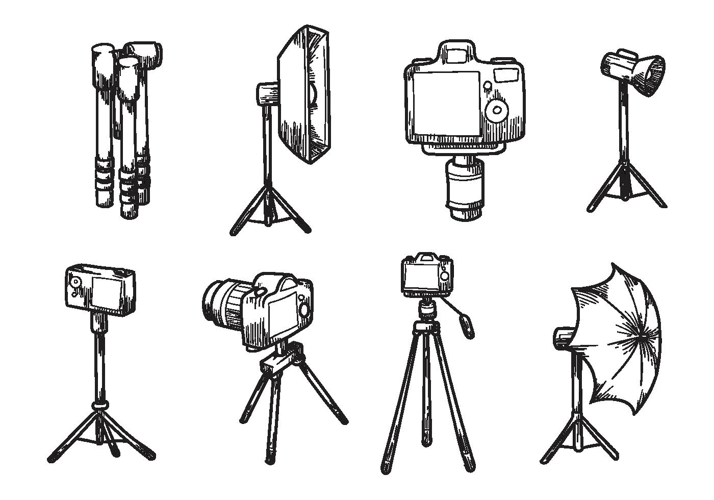 Free Hand Drawn Camera Tripod Vectors Camera drawing