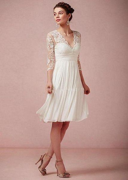 a45c63529e5f Knee Length Wedding Dresses Casual Beach Lace V-neck Ivory Three Quarter  Long Sleeve Knee Length Short Bridal Dress Summer Bride Gowns Hot