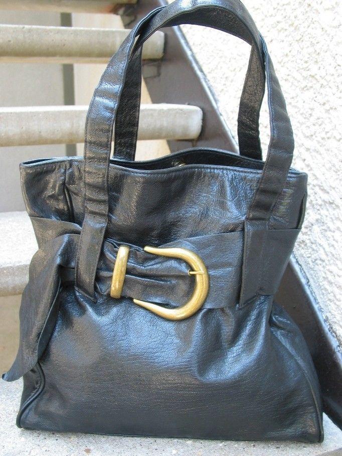 3590f4d035 Susan Farber Used Black Leather Handbag Bag Purse Fashion Tips