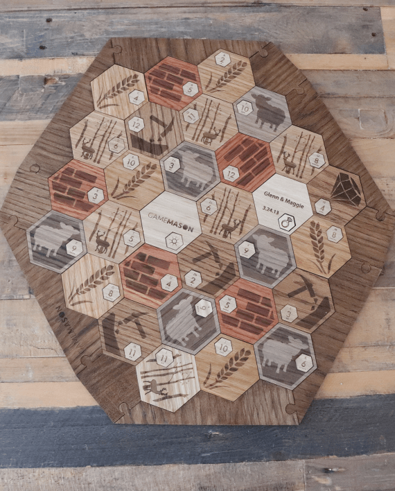 Deluxe Wooden Catan Set White Oak 5 6 Player Expansion Wedding