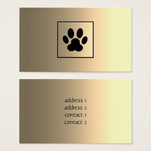 Gold Black Paw Print Pet Business Card Pet Businesses Pet Services Business Display Cards