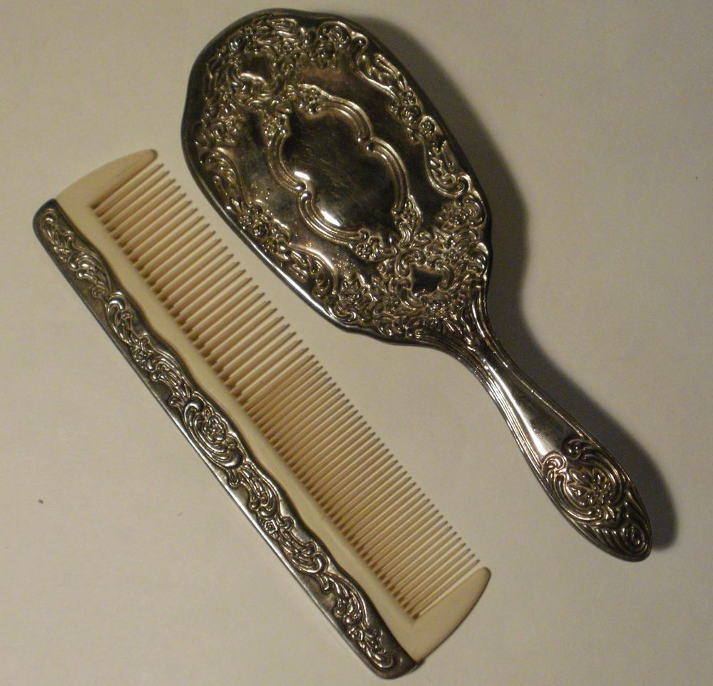Vintage Silver Metal Hair Brush & Comb- Vanity Set