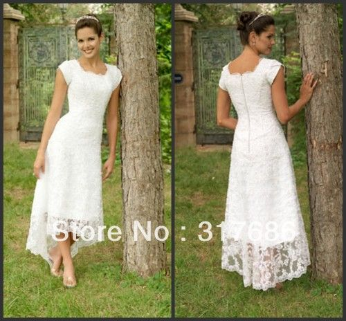 Scoop tea length lace casual dress short sleeve wedding dress ...