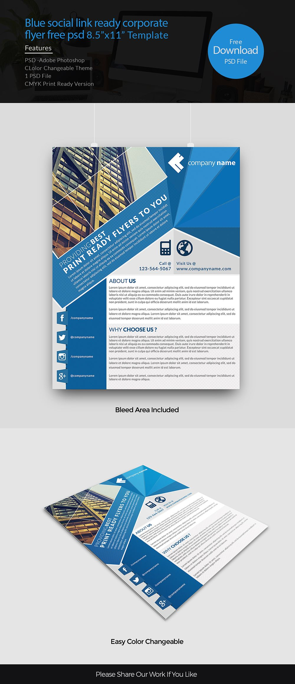 Blue Social Link Ready Corporate Flyer Free Psd  Print Ready
