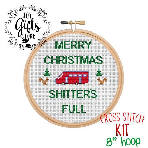 Merry Christmas Shitter\u0027s Full Cross Stitch Kit Funny Christmas